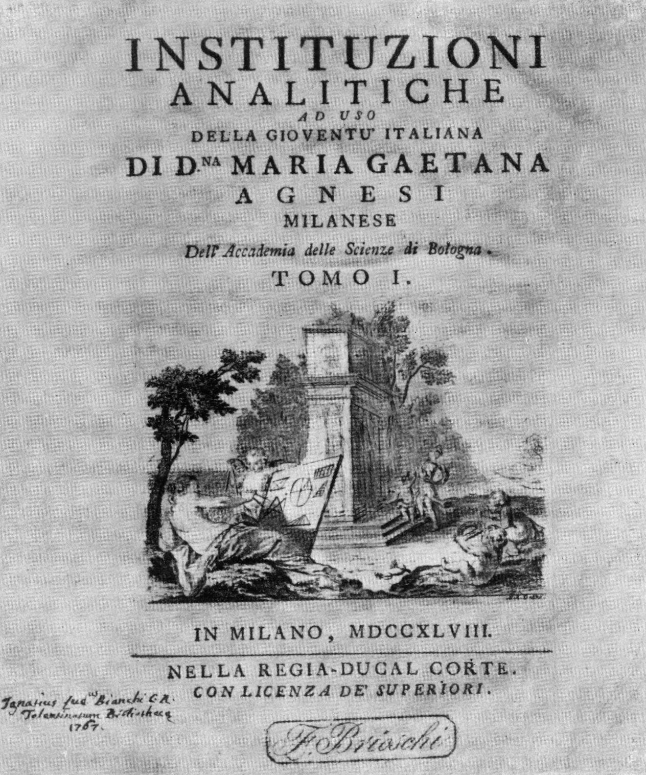 玛丽亚‧盖达娜‧阿涅西所着的1748年版《分析讲义》首页(Instituzioni analitiche)。(公有领域)