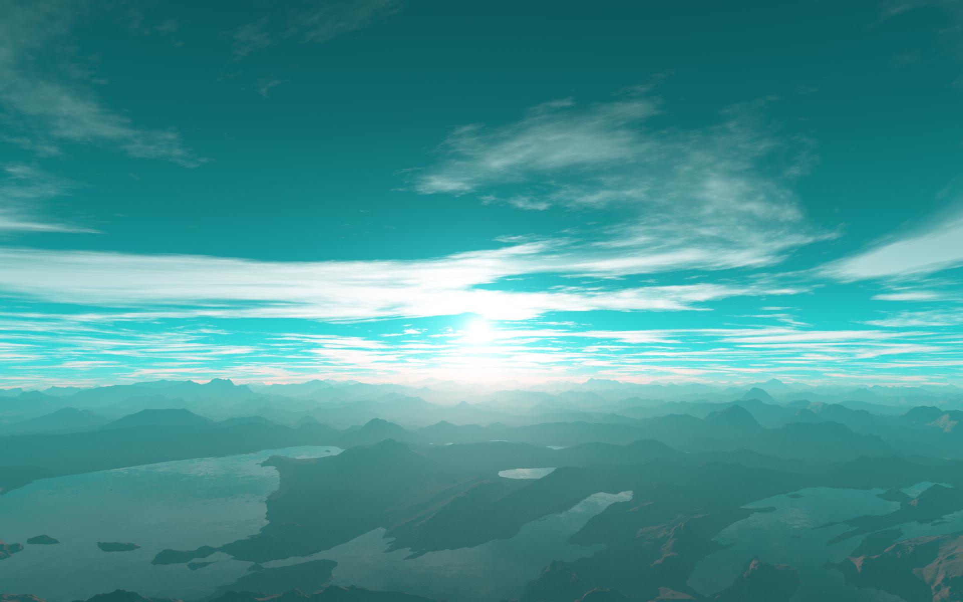 Représentation d'artiste d'un lever de soleil sur l'exoplanète Kepler-22b