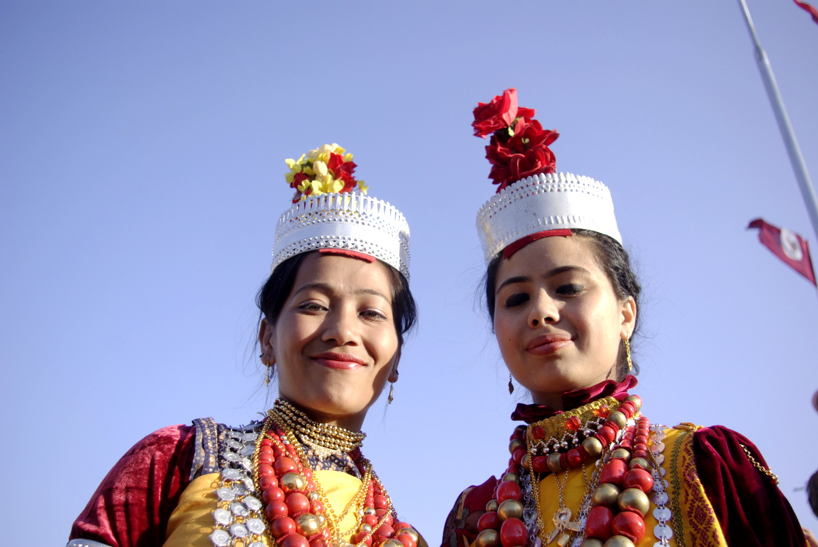 Women dressed up for Ka Pomblang Nongkrem festival in Meghalaya