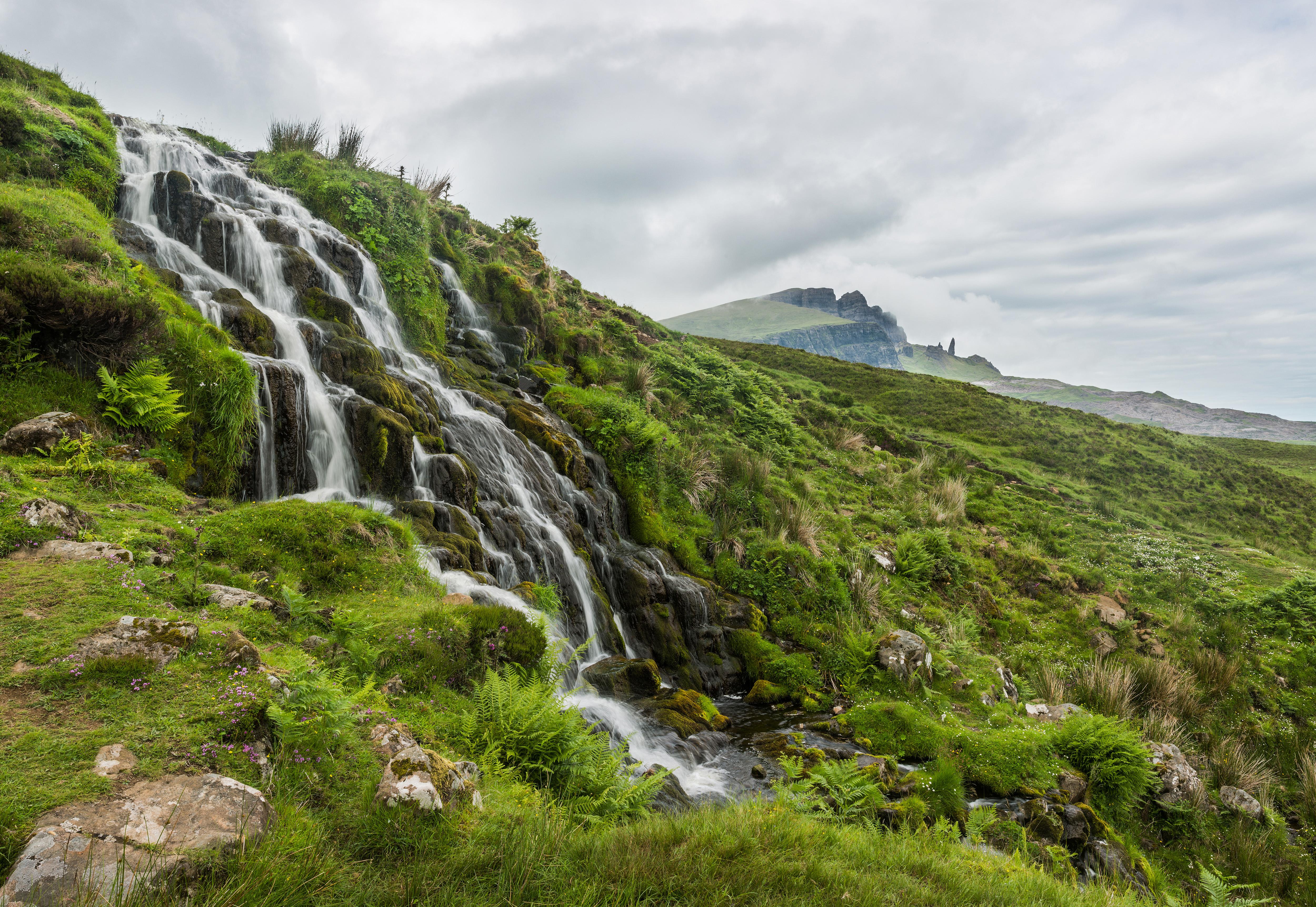 Waterfall Skye Island Scotland Isle Nature