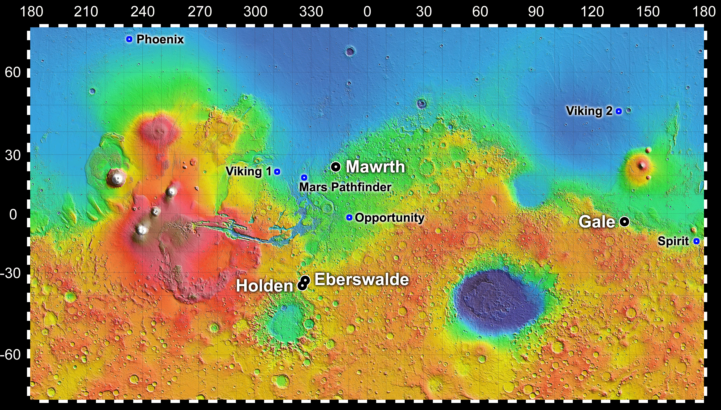 Image result for gale crater on a map of mars