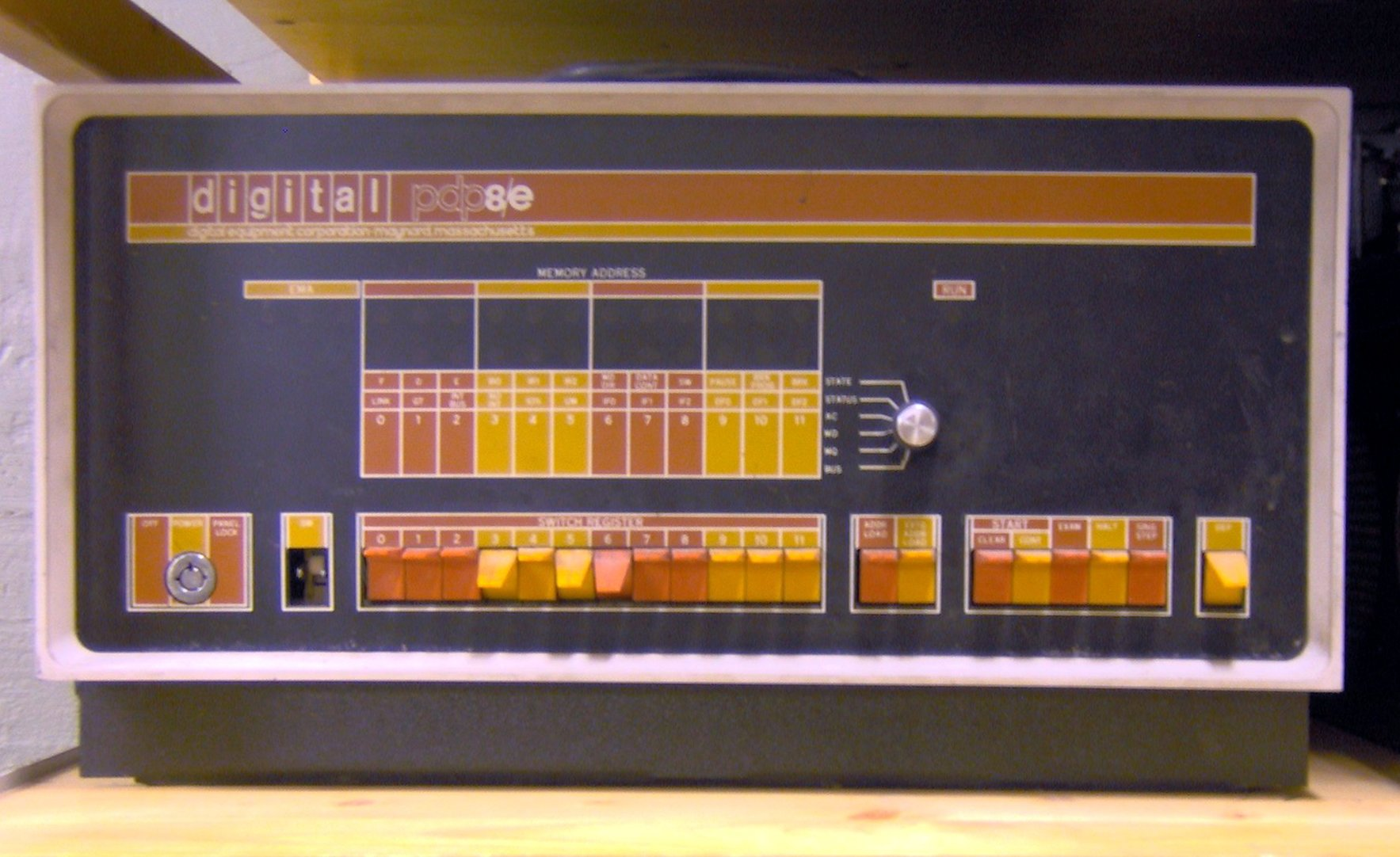 PDP-8/E front panel showing the switches used to load the bootstrap