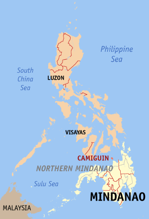 Мапа на Филипините со факти за Камигвин highlighted