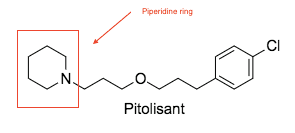 Chemical structure of Pitolisant. New pharmacophore contain non-imidazole compounds, in the case of Pitolisant, a piperidine ring.