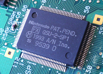 Super FX 2 chip on Super Mario World 2: Yoshi's Island SuperFX GSU-2-SP1 chip.jpg