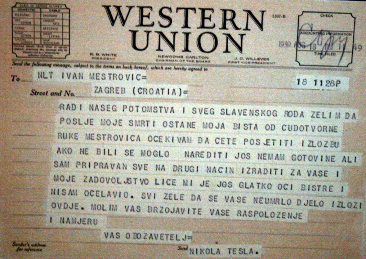 File Telegram Nikola Tesla Mestrovic 01081 Jpg Wikimedia
