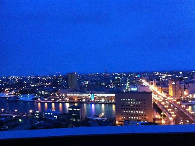 釧路市生涯学習センターからの幣舞橋付近の夜景 2014-06-01 09-49