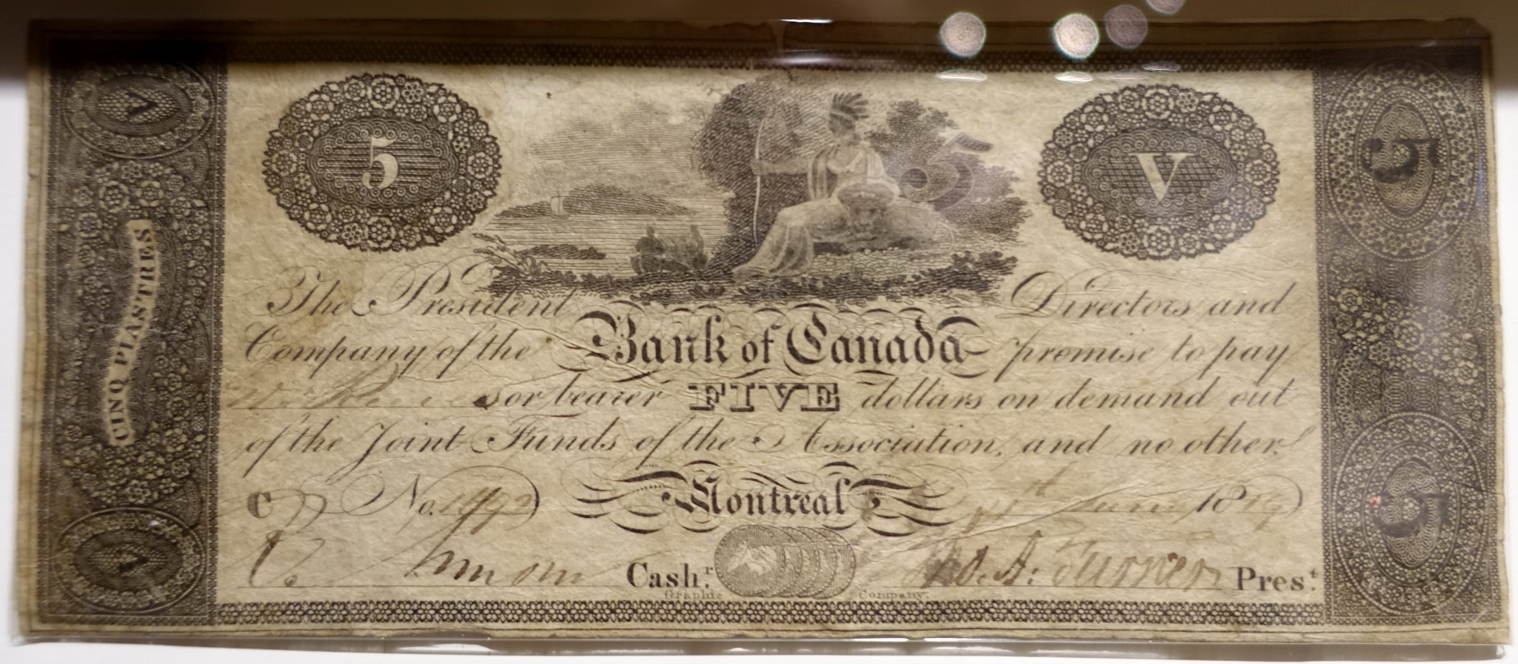File:5 Dollars, Bank of Canada, 1819 - Bank of Montréal Museum -