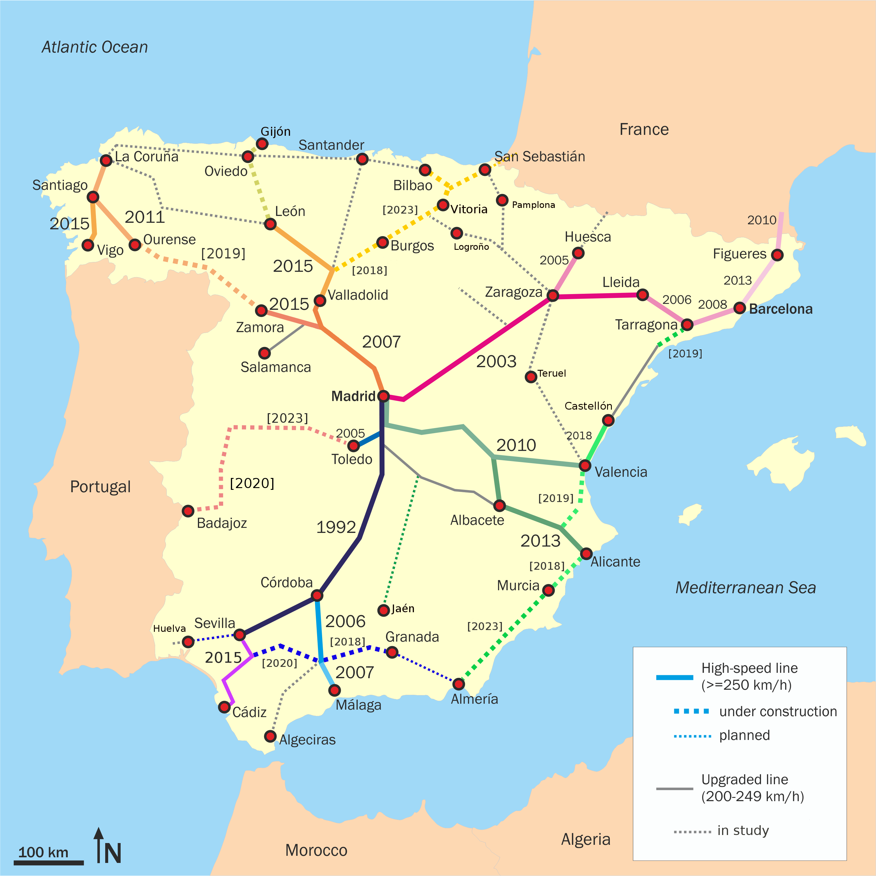 Spain's high-speed rail lines