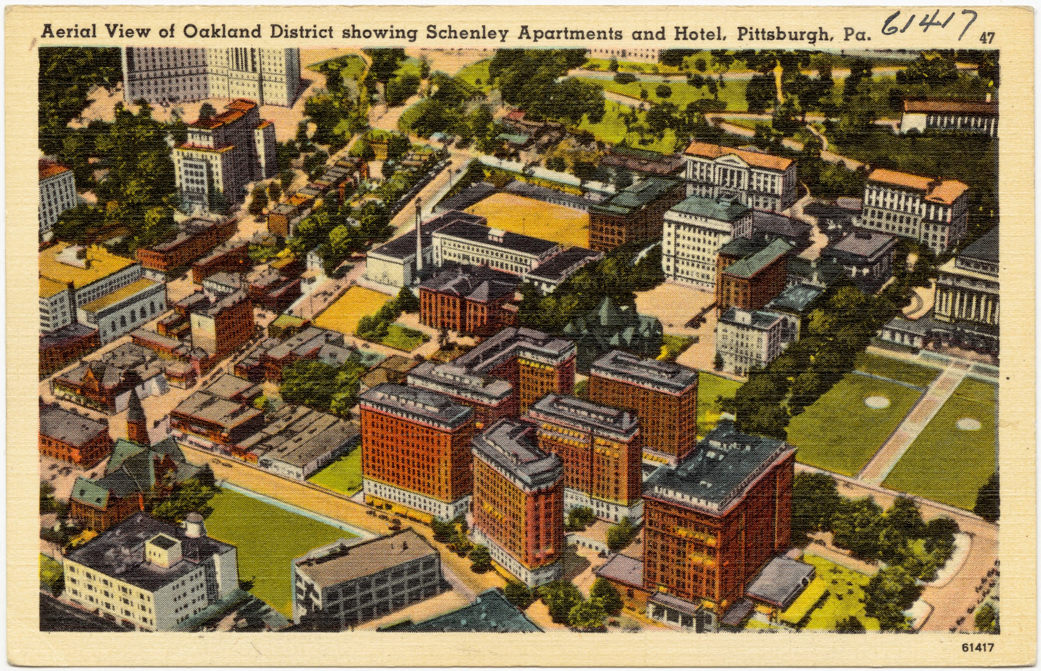 File Aerial View Of Oakland District Showing Schenley Apartments And Hotel Pittsburgh Pa
