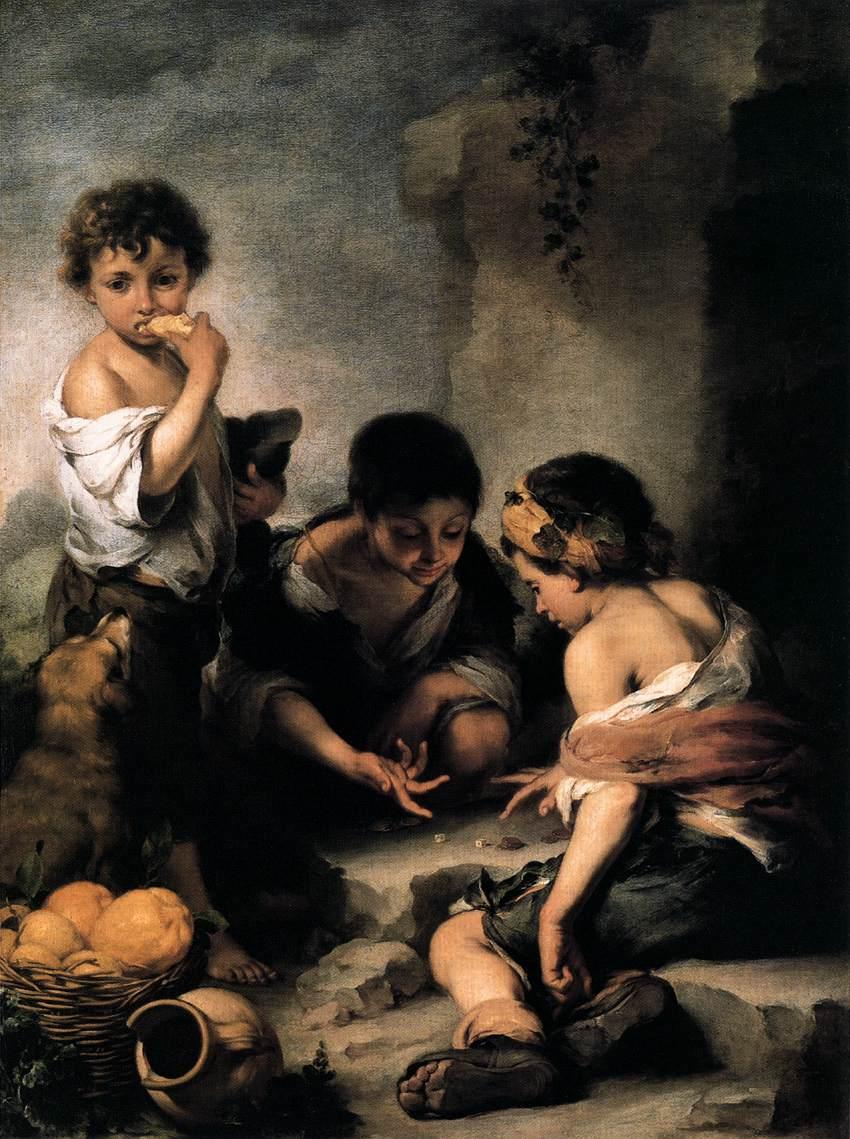 Murillo: Niños jugando a los dados (pintado hacia 1665-1675).