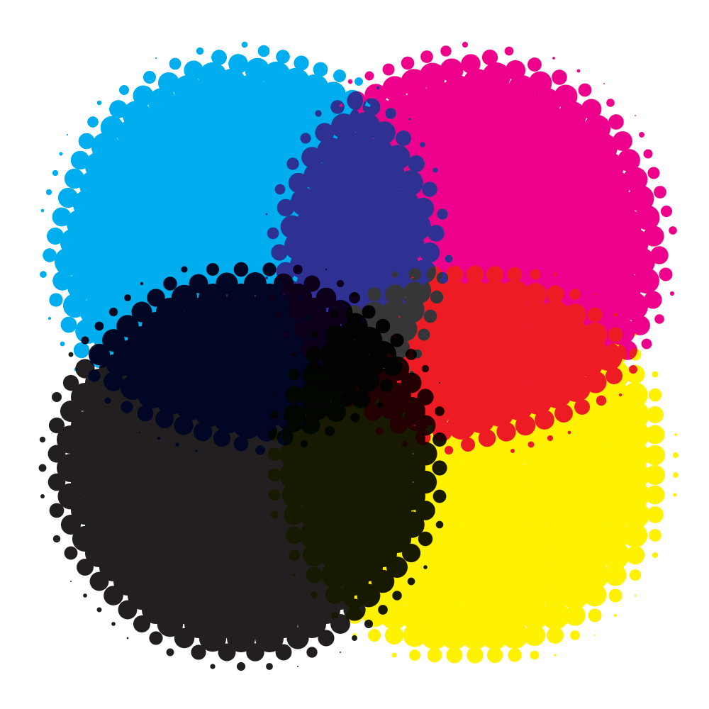 Example of how RGB and CMYK colors are used in digital and print design