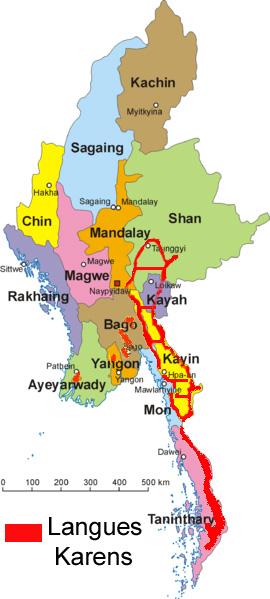 Thailande Carte Langues.Langues Karens Wikipedia