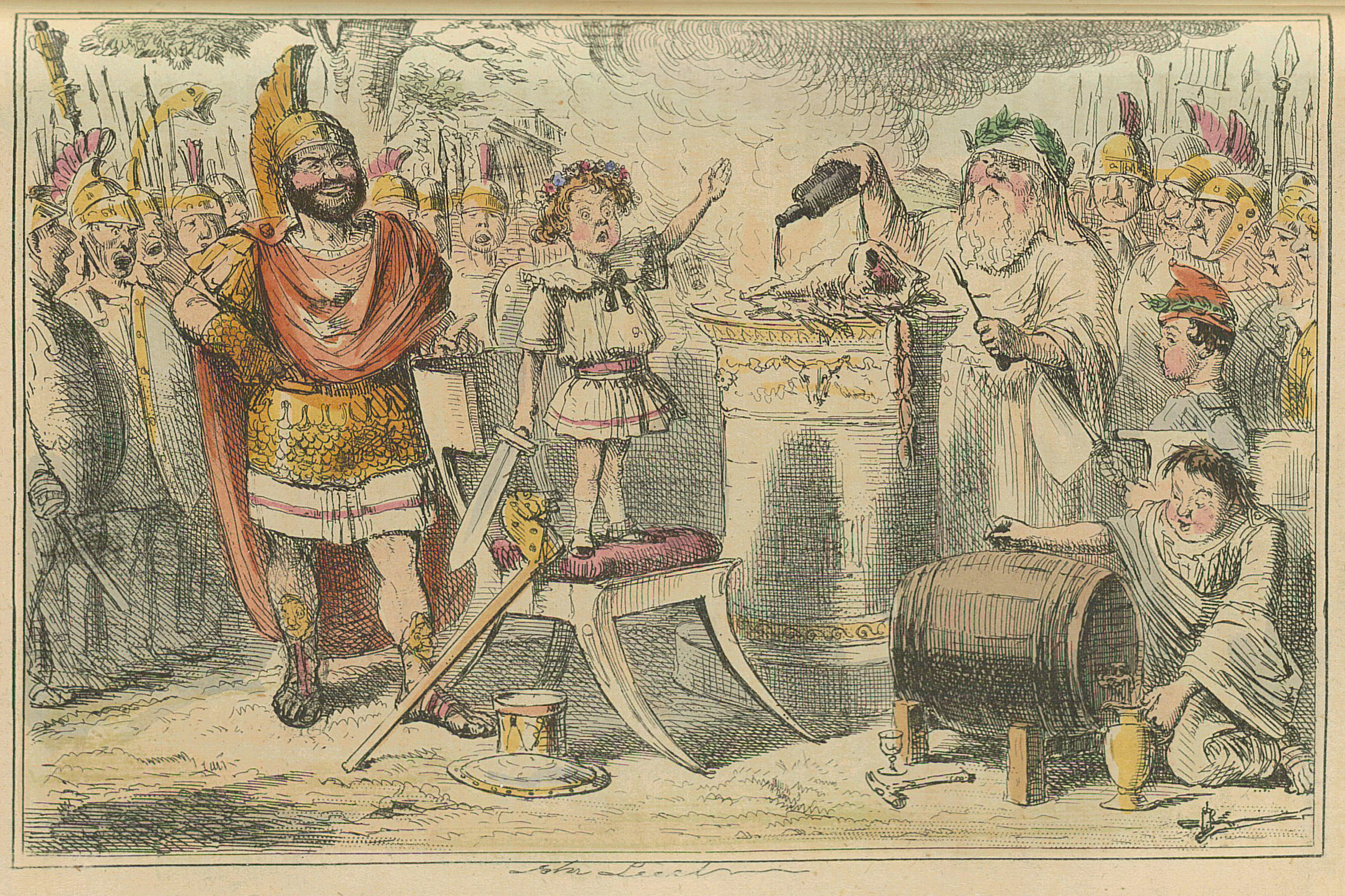 1850s newspaper cartoon in color of a young child standing on a chair holding a sword, declaiming while surrounded by soldiers