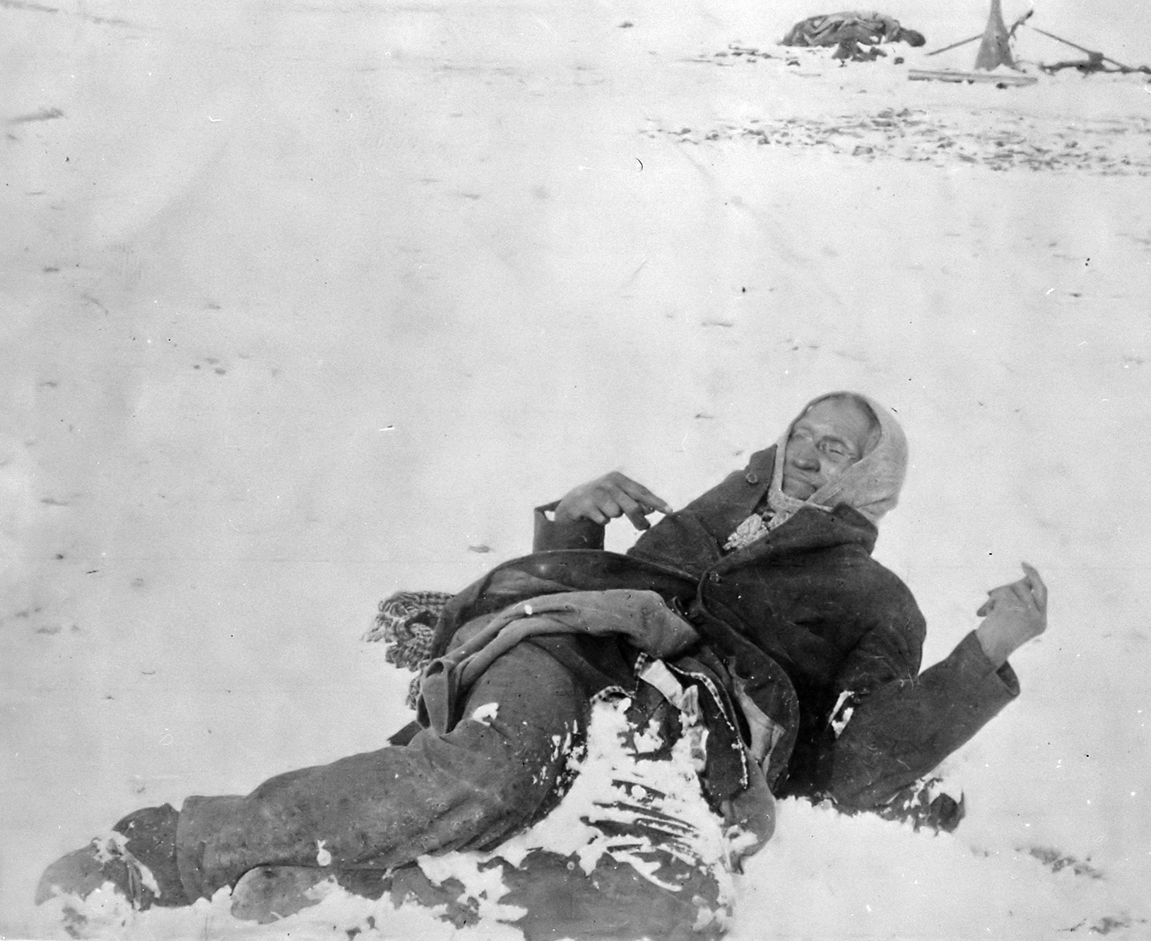 Spotted Elk lies dead after the massacre of Wounded Knee, 1890