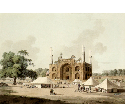 Gate of Akbar's mausoleum at Sikandra, Agra, 1795 Gate of the Tomb of Akbar at Sikandra, Agra, India, 1795.jpg