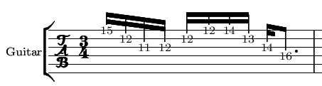 Sample tablature for sweep picking