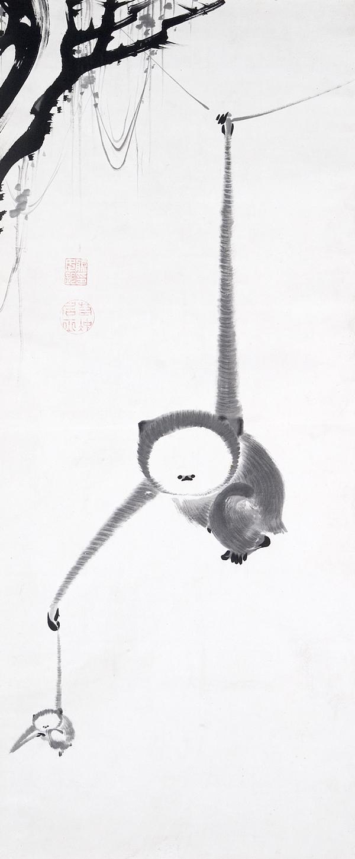 https://upload.wikimedia.org/wikipedia/commons/1/1d/Ito_Jakuchu%2C_Japanese_%281716%E2%80%931800%29%2C_Two_Gibbons_Reaching_for_the_Moon%2C_c._1770%2C_Japan%2C_Edo_period%2C_Hanging_scroll%2C_ink_on_paper%2C_Kimbell_Art.jpg
