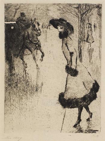 Dame eine Pferdedroschke rufend