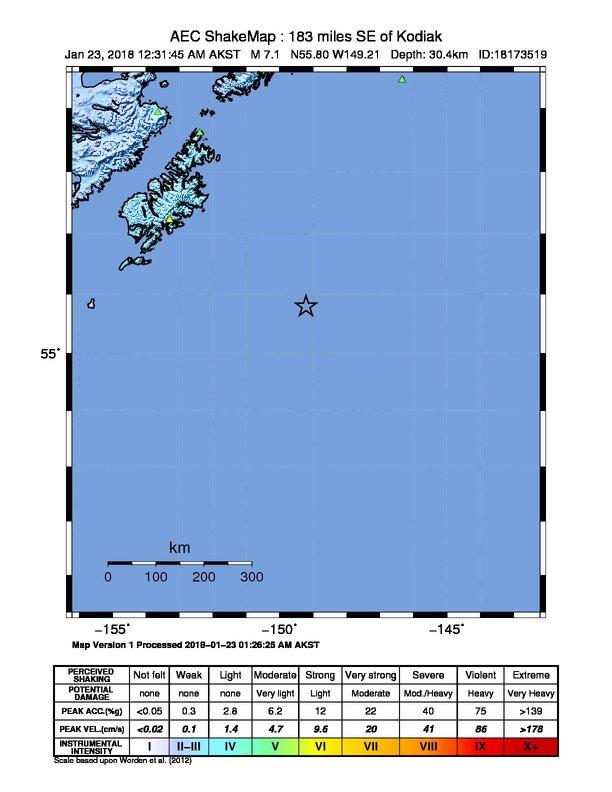 File:M 7.9 - 280km SE of Kodiak, Alaska - intensity.jpg - Wikimedia on aleutian islands map, unalakleet map, hilo hawaii map, kodiak island, kodiak street map, kodiak lodge larsen bay, kodiak bear map, kodiak coast guard map, kodiak city map, kodiak road map, kodiak daily mirror, kodiak charters larsen bay, cordova map, afognak island map, kodiak air station map, kodiak runway, kodiak boats, copper center map, kodiak weather cam, fossil beach kodiak map,