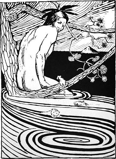 Nanabozho in the flood. (Illustration by R.C. Armour, from his book North American Indian Fairy Tales, Folklore and Legends, 1905)
