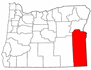 Map of Oregon highlighting Malheur County