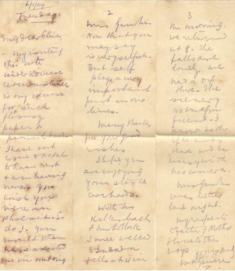 Mohandas K. Gandhi, letter in indelible pencil, South Africa 1909.jpg