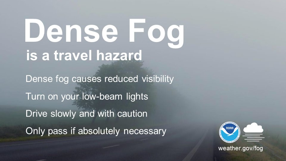 English NOAA Dense Fog social media graphic