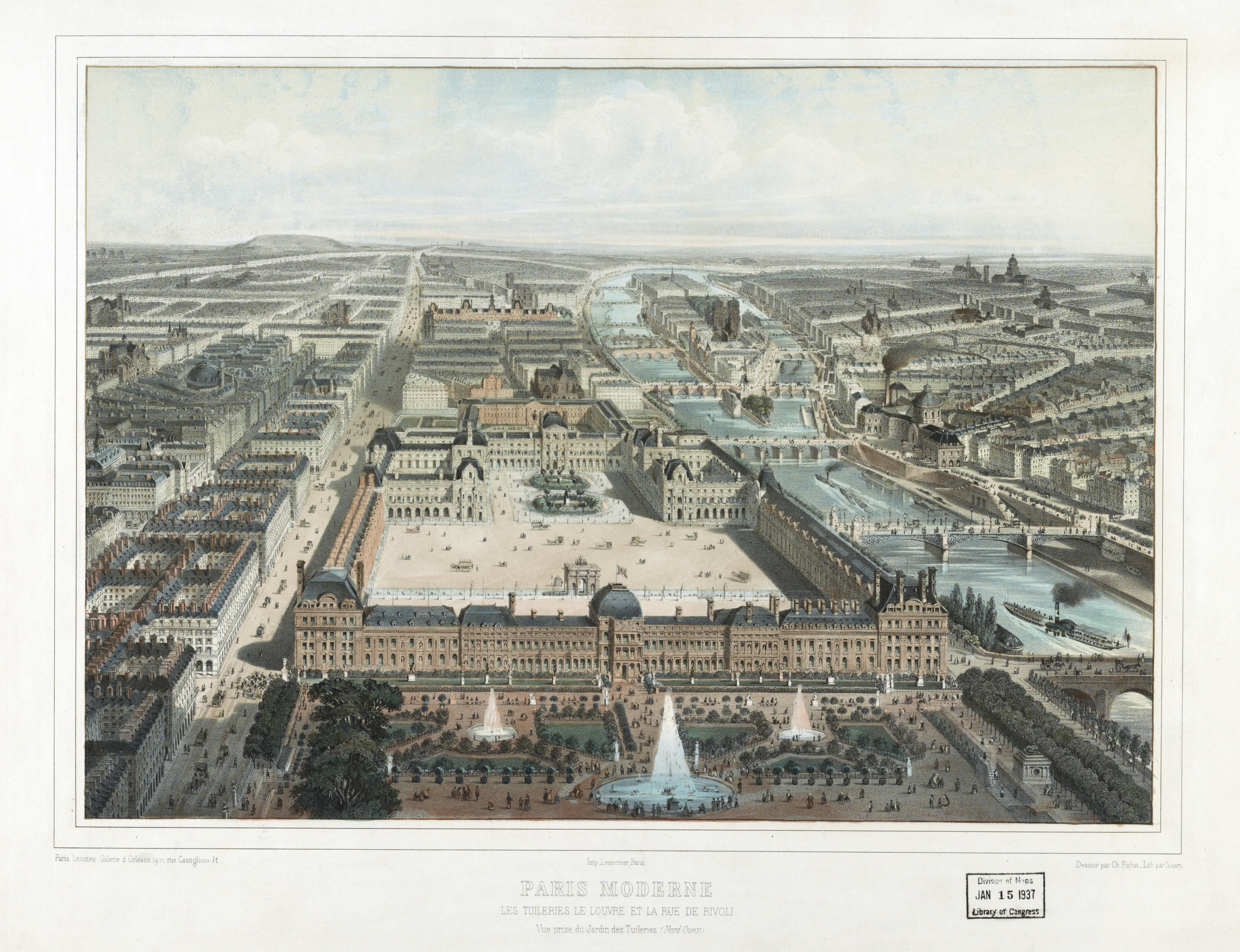 File:Paris moderne. Les Tuileries, le Louvre, et la rue de Rivoli ...
