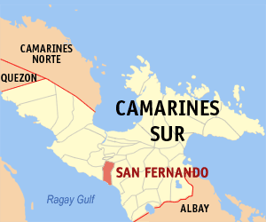 Map of Camarines Sur showing the location of San Fernando