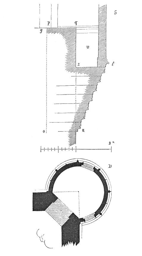 inférieur de la tourelle. La naissance du cul-de-lampe était placée en n, et assez bas pour que la charge du quart du plan nopq, posant sur l'angle de pierre