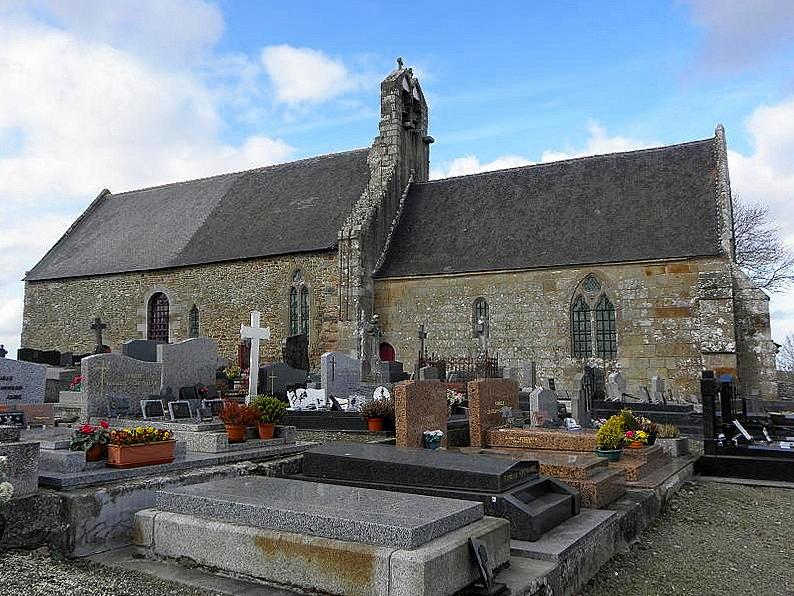 Église Saint-Georges de Saint-Georges-de-Gréhaigne (35). Façade sud.