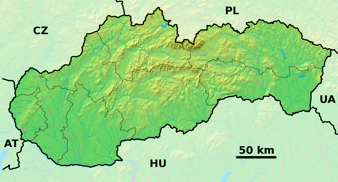 Physical Map Of Slovakia