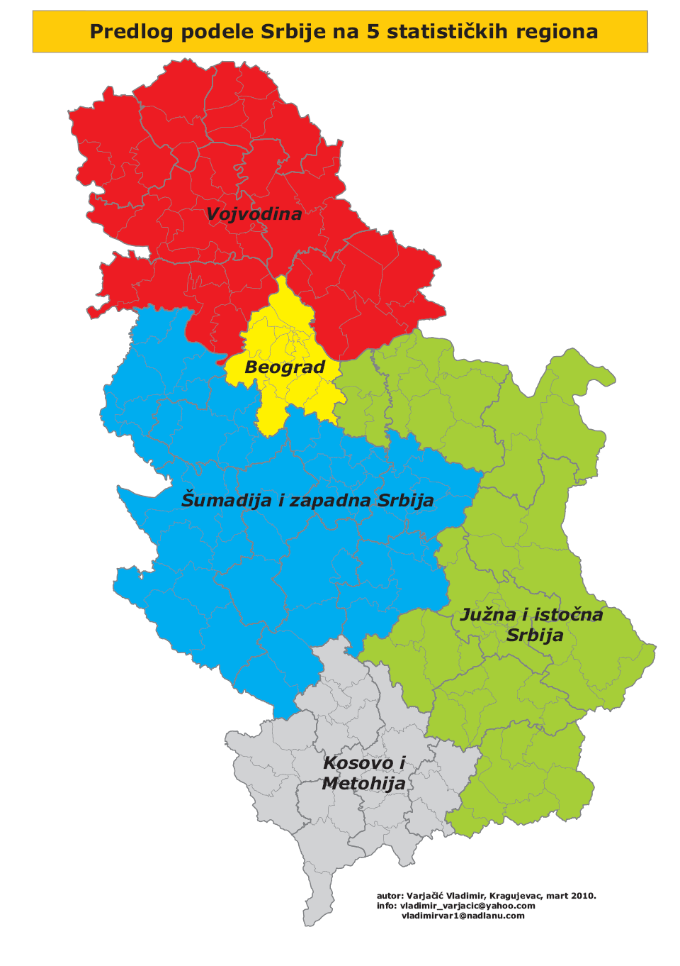 Map of municipalities and cities of Šumadija and Western Serbia