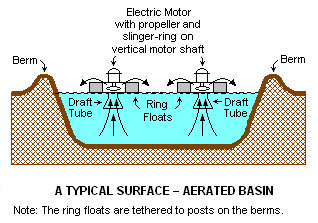 A Typical Surface-Aerated Basin (using motor-driven floating aerators)