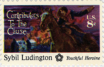 Sybil Ludington stamp, issued in 1975.