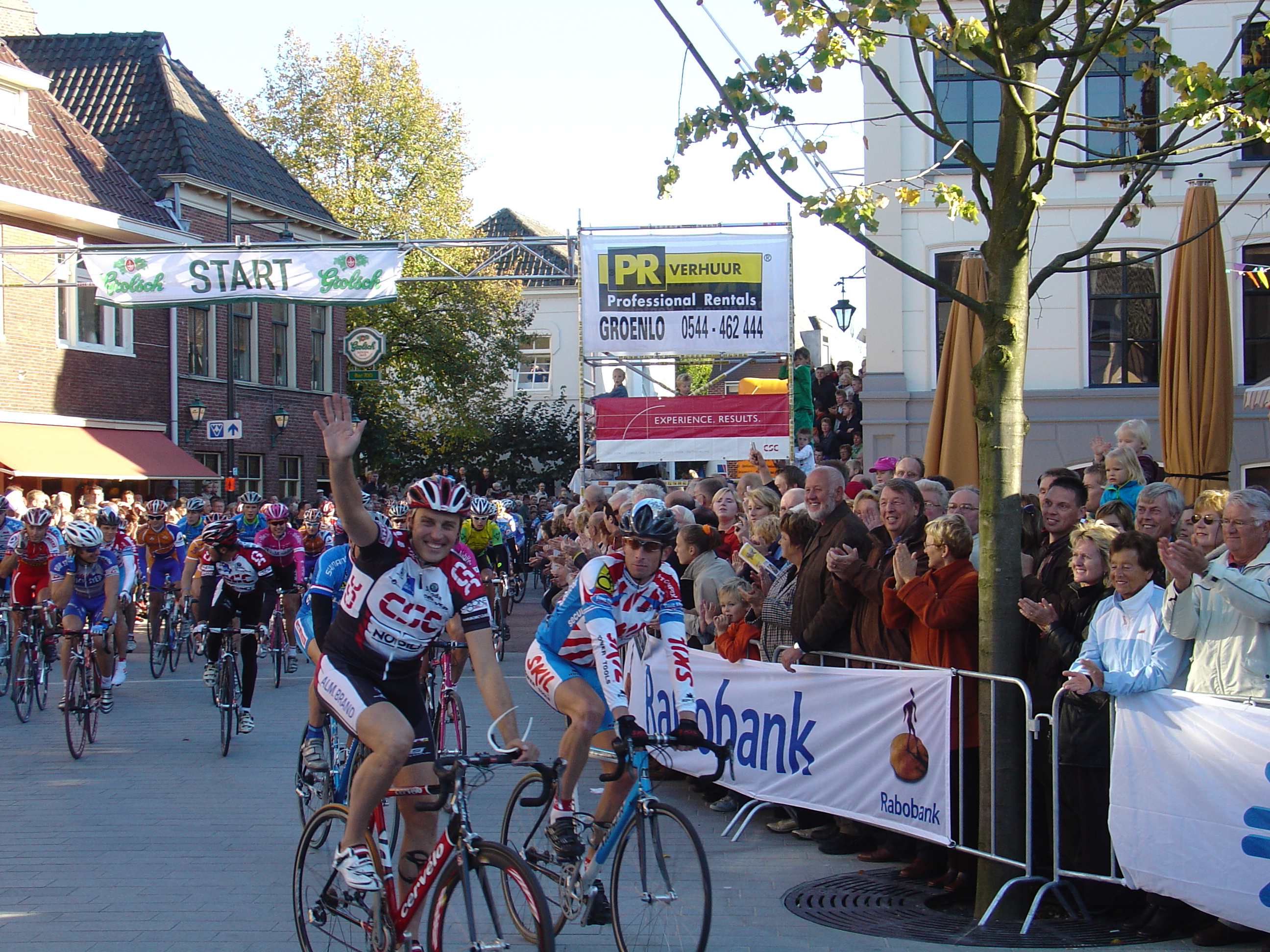 Hoffman accompanied by colleagues at his goodbye race in Groenlo, 2005.