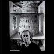 "Walther Jervolino with one of his masterpieces, ""The Babel Tower"".jpg"