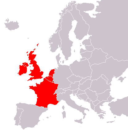 Karta Zapadne Europe