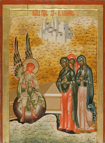 Eastern Orthodox icon of the Myrrhbearing Women at the Tomb of Christ (Kizhi, Russia, 18th century). dans immagini sacre Wifes_grave_kizhi
