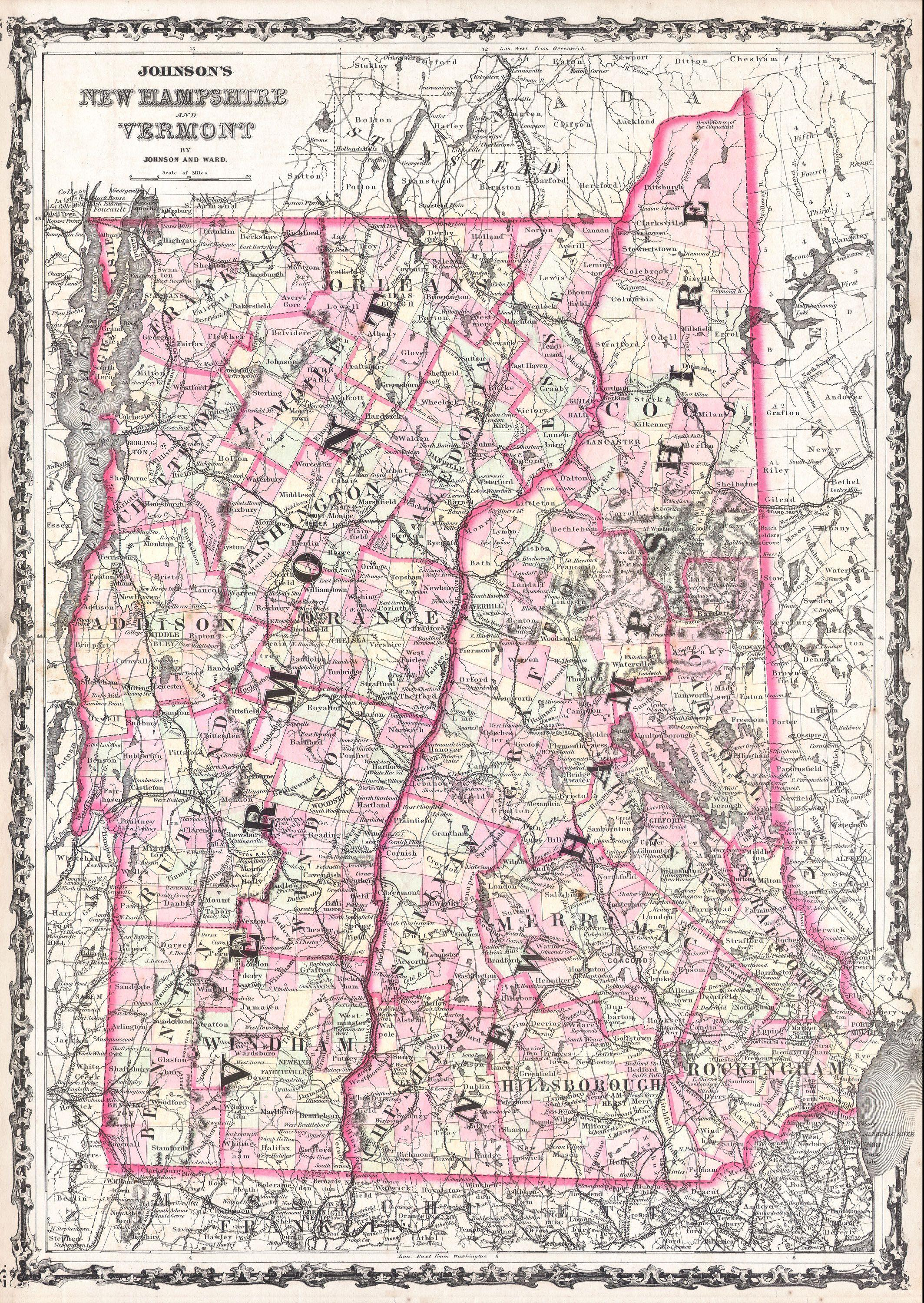 File1861 Johnson Map Of Vermont And New Hampshire
