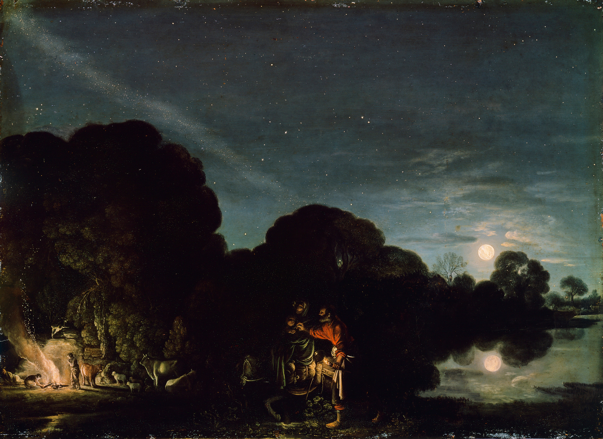 Nocturnal - the best nocturne paintings: Adam Elsheimer, The Rest on the Flight into Egypt