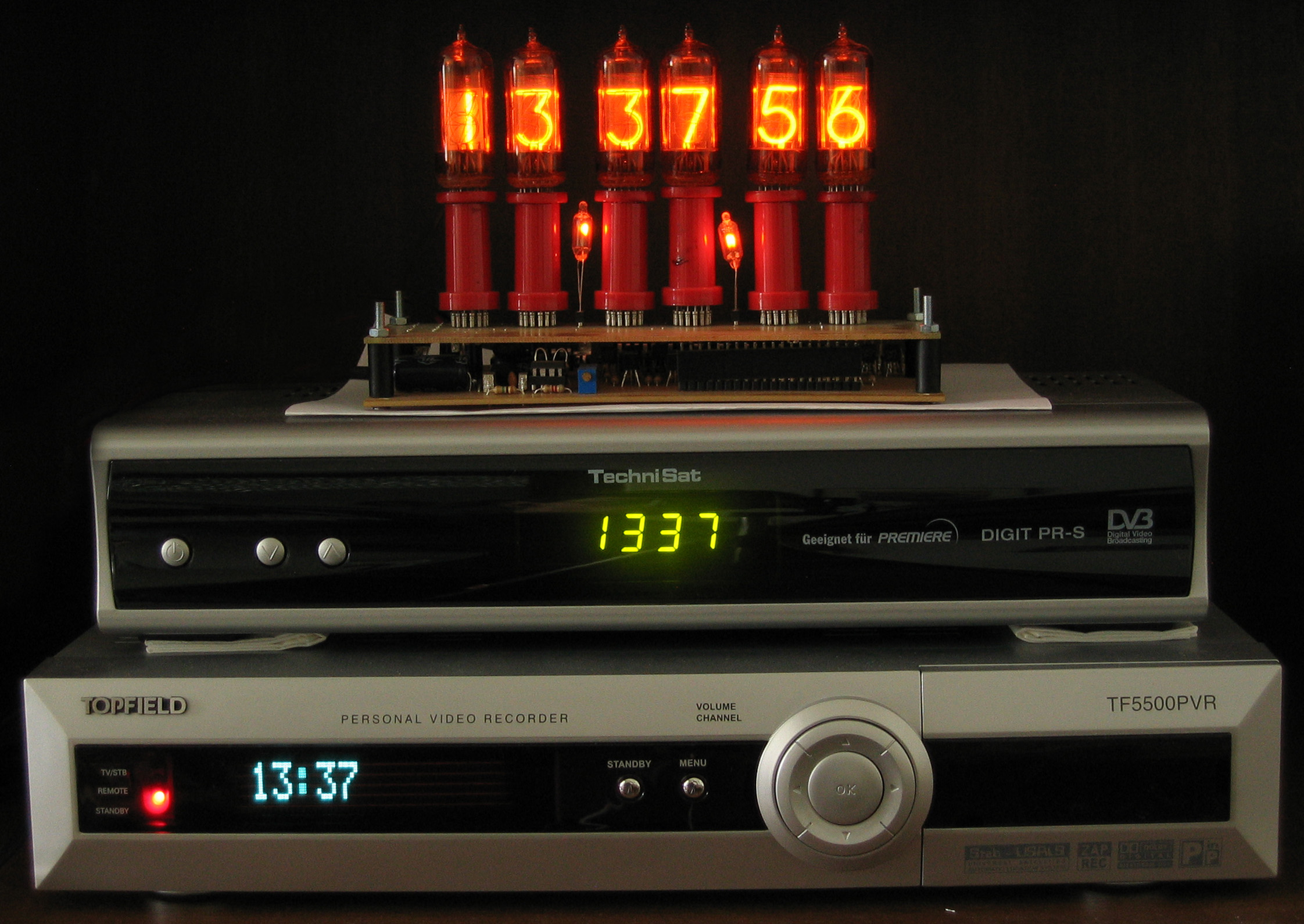 Nixie tubes, LED-display and VF display, top to bottom.