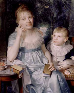 Benedikte Naubert with foster son, 1806