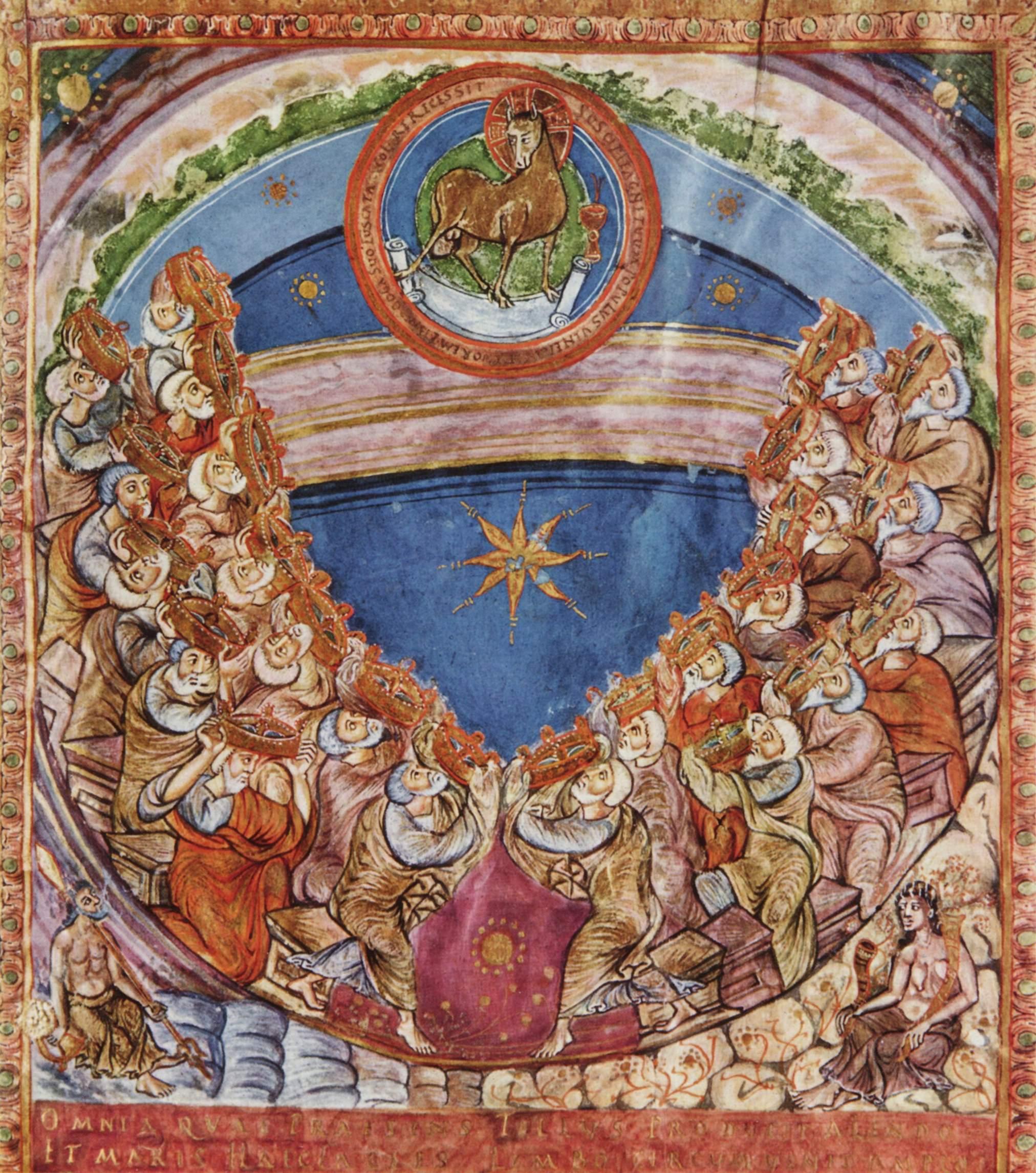 Codex Aureus of St. Emmeram, Adoration of the Lamb, 9t century