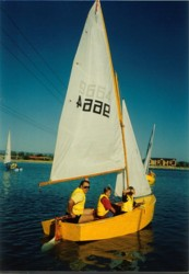 Learning to sail in a Heron, West Lakes, South Australia