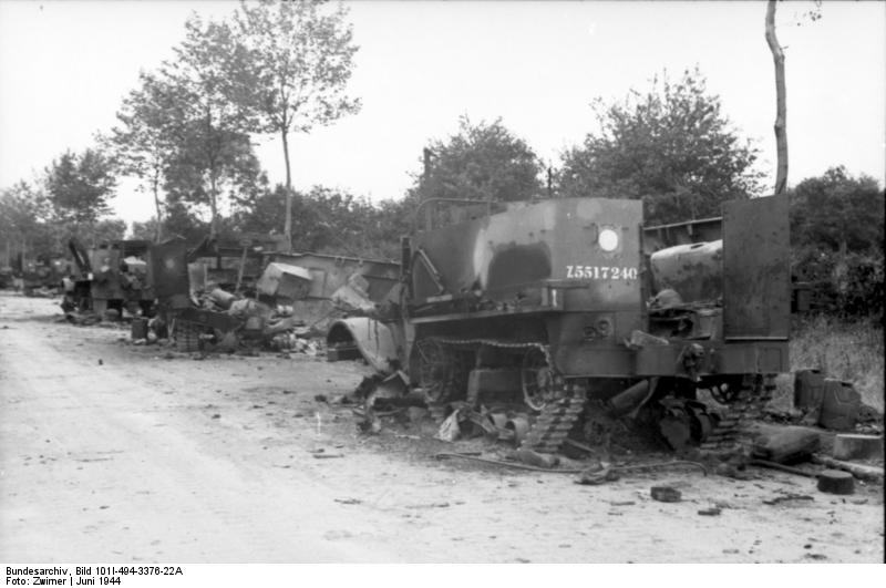 M5 Half-tracks destroyed by Wittmann's Tiger