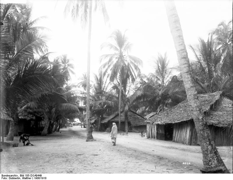 Straße im afrikanischen Teil Panganis, ca. 1906