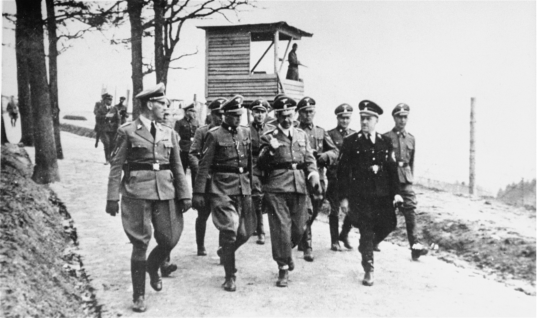 Himmler, Ernst Kaltenbrunner, and other SS officials visiting Mauthausen concentration camp in 1941