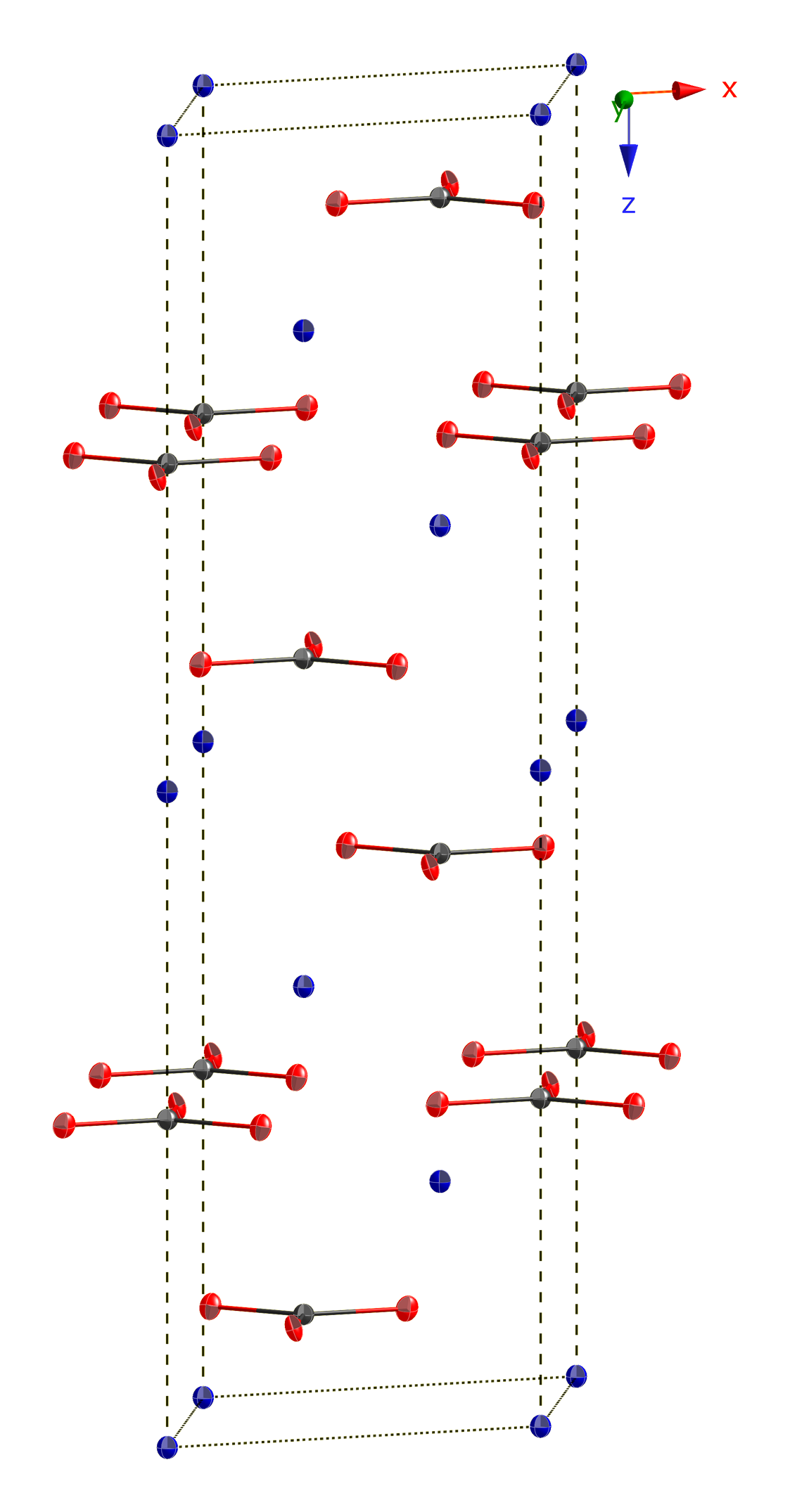Thermal ellipsoid model of the unit cell of cobalt(II) carbonate